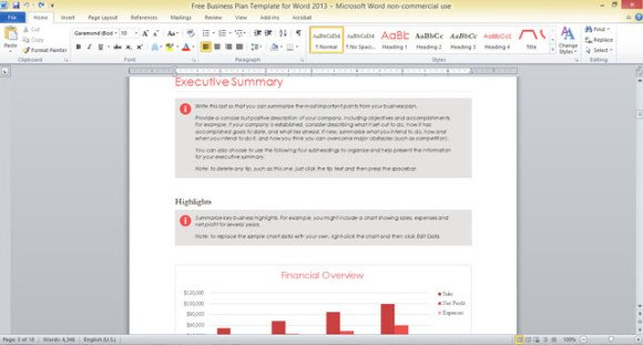 Free Business Plan Template for Word 2013 - professional document templates