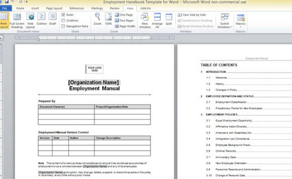 Employment Handbook Template For Word - sample employee manual template