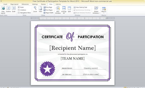Free Certificate Of Participation Template For Word 2013 - powerpoint certificate template
