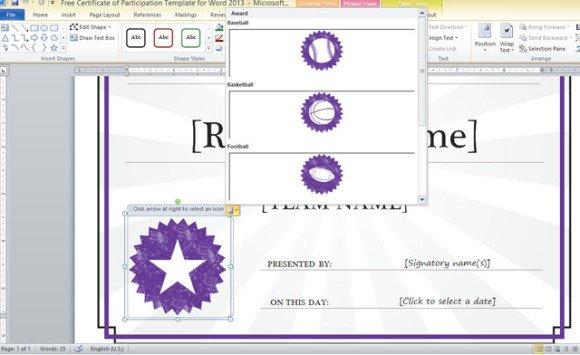 word 2013 certificate template