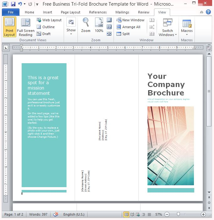 word templates tri fold brochure