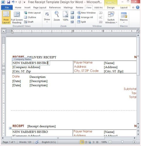 Free Receipt Template Design For Word - create a receipt in word