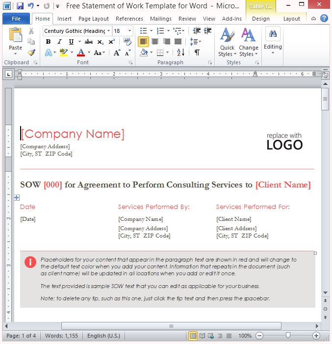 Free Statement Of Work Template For Word - scope of work template