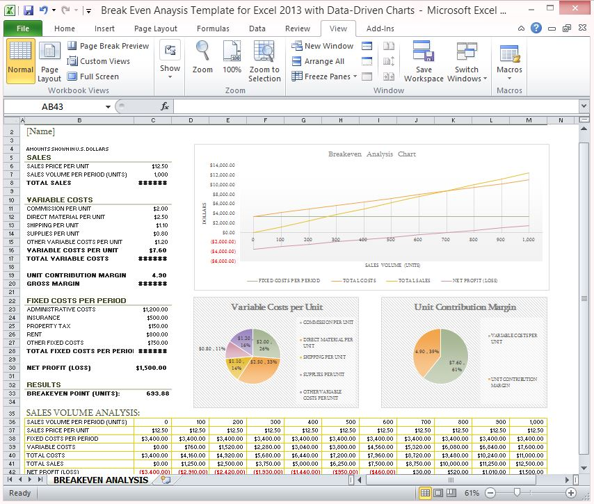 Break Even Analysis Template for Excel 2013 With Data Driven Charts - data analysis template