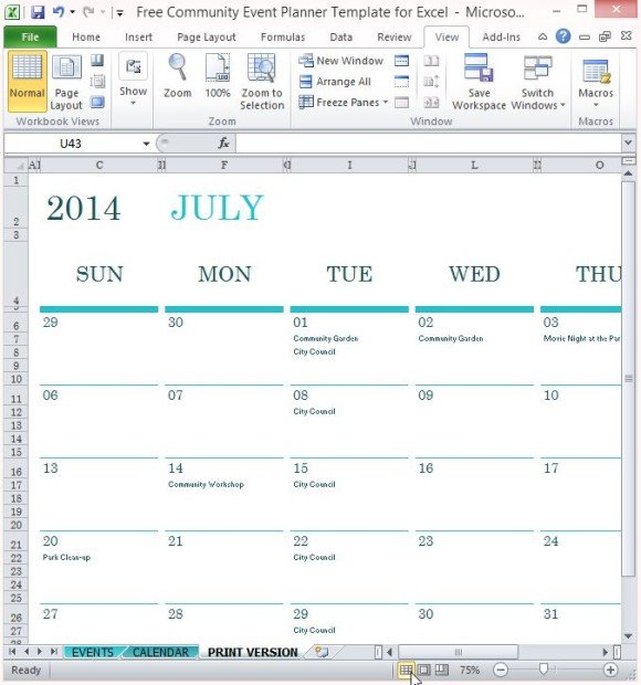 Free Community Event Planner Template For Excel - free event planner template