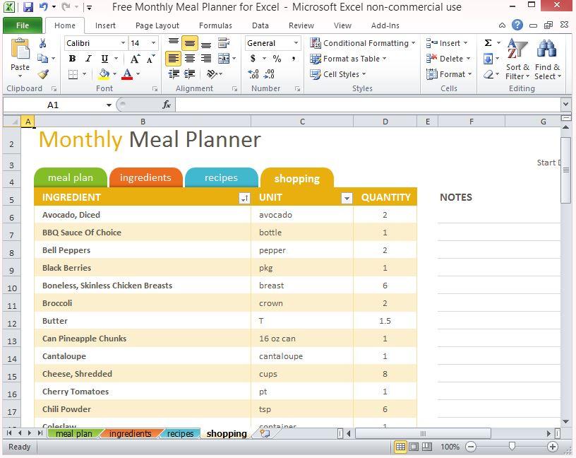 excel menu planner template