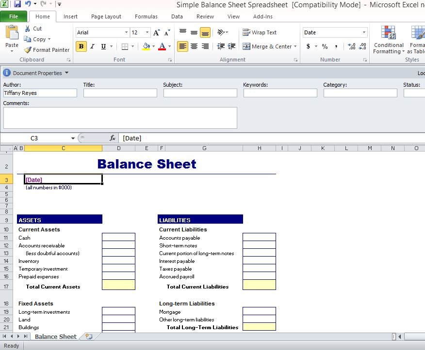 Simple Balance Sheet Template For ExcelLand Inventory Template - property inventory template