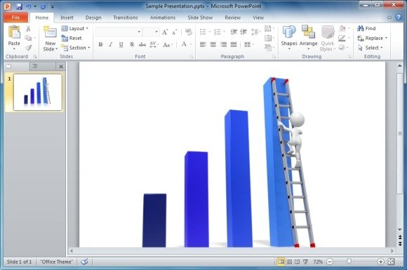 Awesome 3D Success Charts For PowerPoint Presentations - bar graph templates free