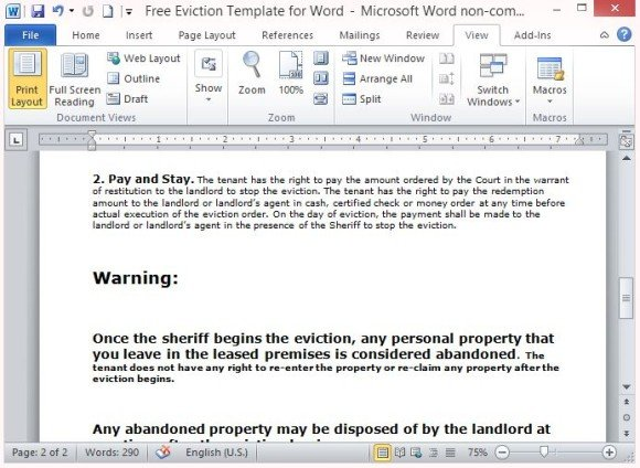 Free Eviction Template For Word - notice form in word