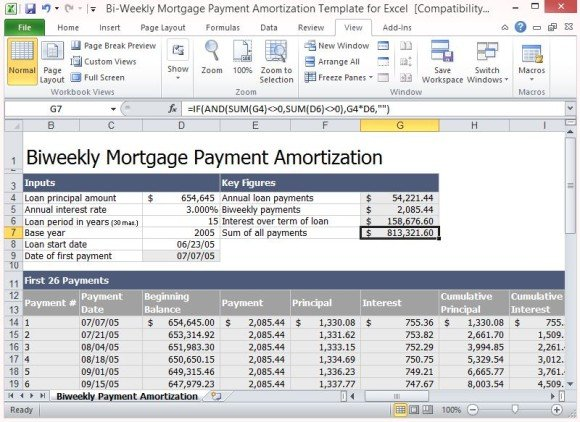 Bi-Weekly Mortgage Payment Amortization Template For Excel - loan templates