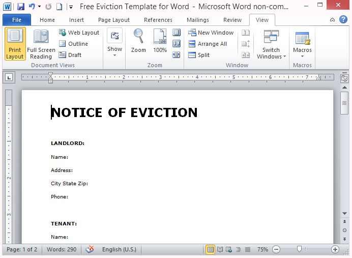 Free Eviction Template For Word - free eviction template