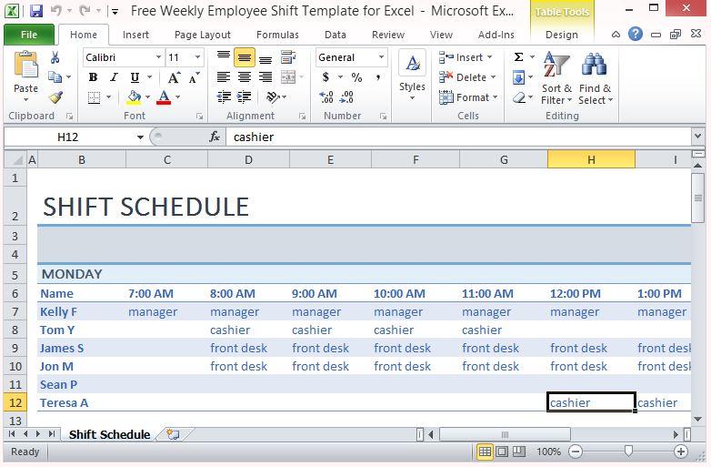 employee work schedule templates free