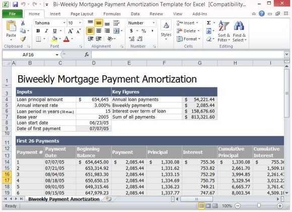 Bi-Weekly Mortgage Payment Amortization Template For Excel - mortgage amortization calculator