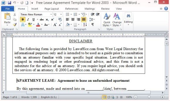 Free Lease Agreement Template for Word - microsoft word rental agreement template