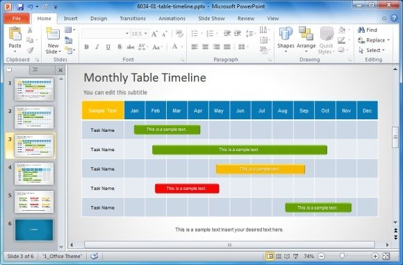 ppt project timeline template the-links