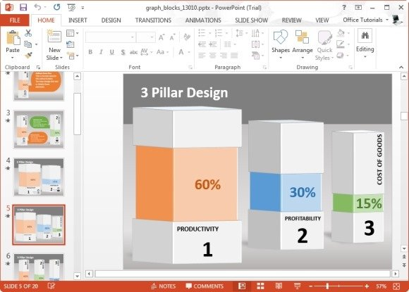 Animated Graph Blocks Template For PowerPoint - bar graph templates free