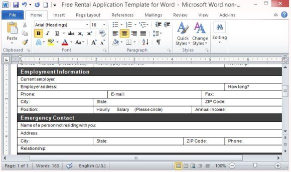 Free Rental Application Template for Word - lease template word