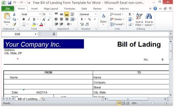 Free Bill of Lading Form Template for Excel - blank bol form