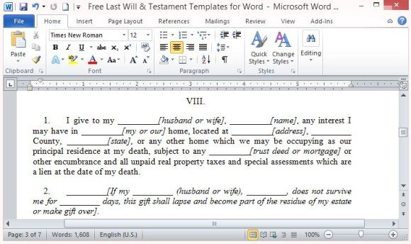 Free Last Will And Testament Template For Word - last will and testament form
