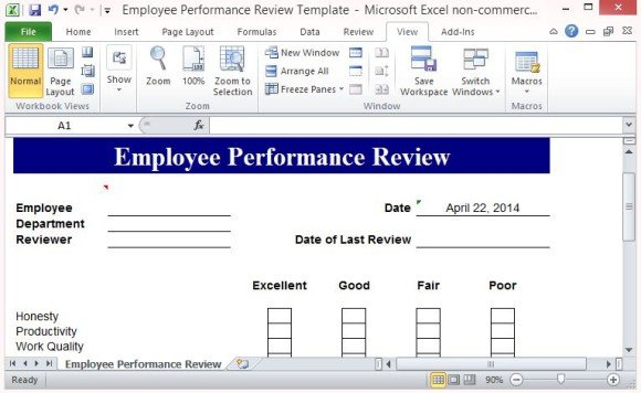 Free Performance Review Template Form for Word 2007 - monthly performance review template