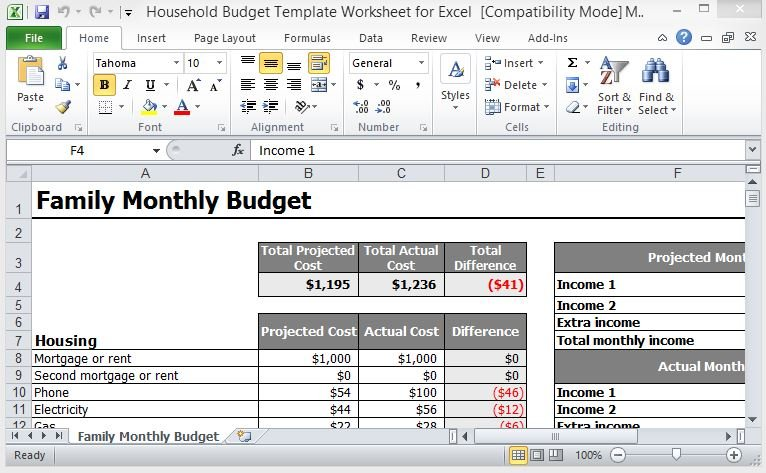 Household Budget Template Worksheet For Excel - home budget template
