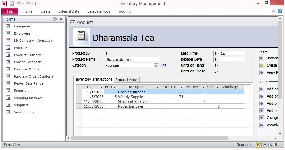 Free Inventory Control Forms Template For Microsoft Access - inventory management template