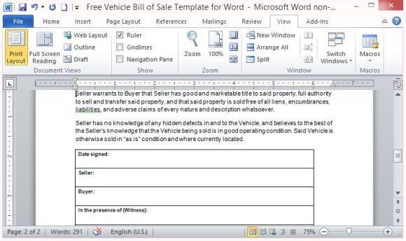 Free Vehicle Bill Of Sale Template For Word - bill of sale microsoft word