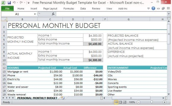 monthly expense template