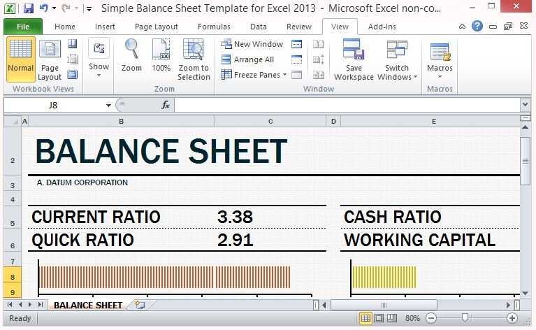 Simple Balance Sheet Template For Excel 2013 With Working Capital - simple balance sheet