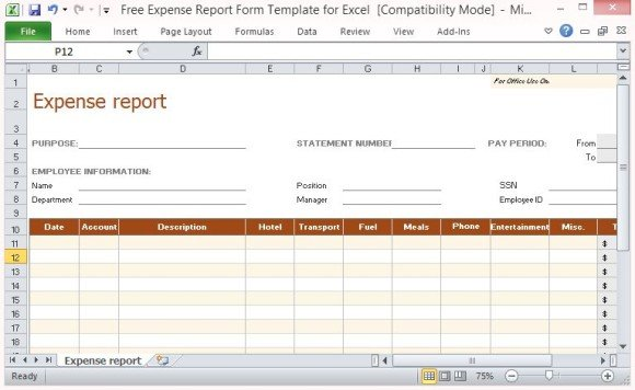 Free Expense Report Form Template For Excel - expense report template