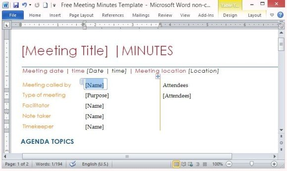 Free Meeting Minutes Template For Word - meeting notes template