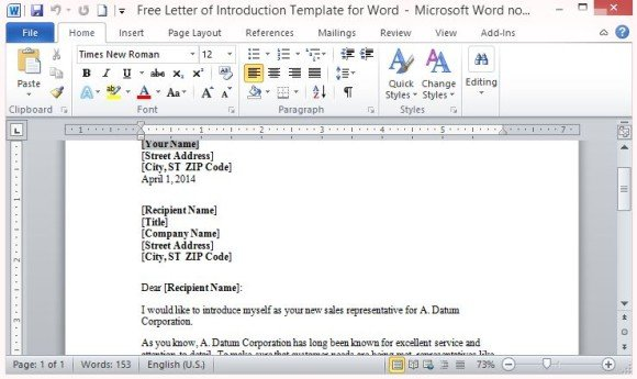 Letter of introduction how to