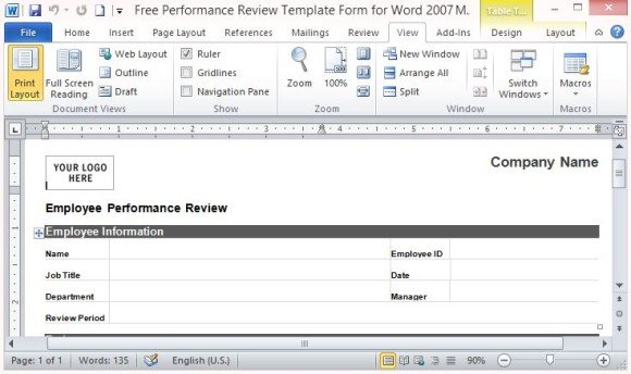 Free Performance Review Template Form for Word 2007 - company performance review template