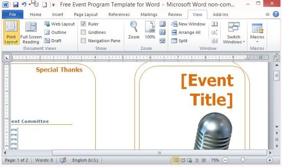 Free Event Program Template for Word - free event planner template