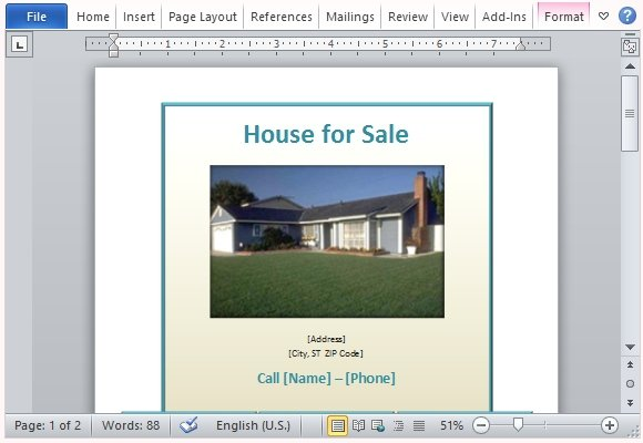 House For Sale Flyer Template For Word - car for sale flyer template