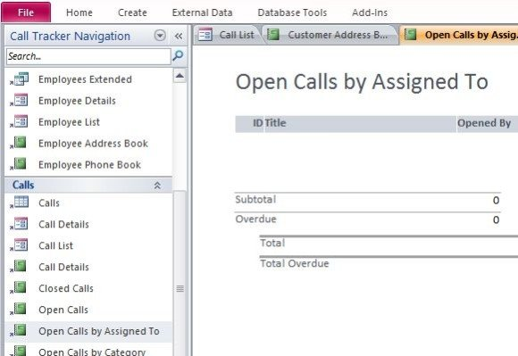How To Assign And Track Status Of Customer Calls in Microsoft Access - how to create call log template
