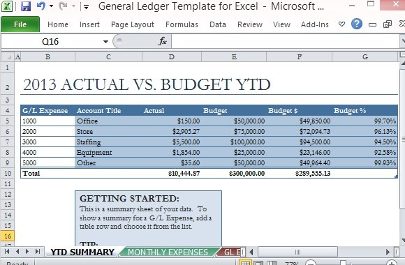 General Ledger Template For Excel - ledger accounts template