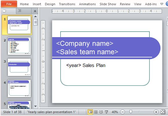 Yearly Sales Plan Templates For PowerPoint - how to write a sales plan template