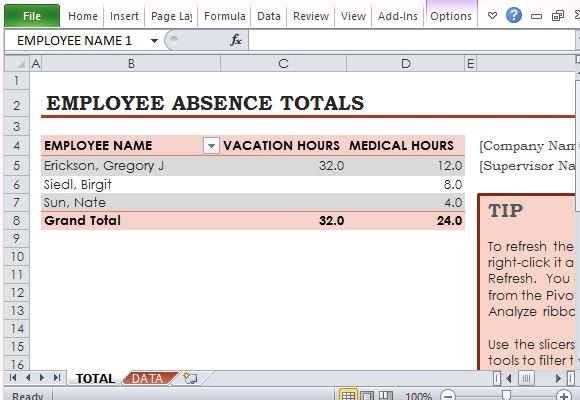 Free Employee Absence Tracker For Excel - vacation tracking template