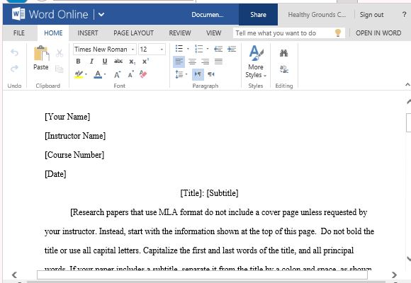 mla template for word - Mla Format For Word