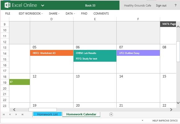 Homework Calendar Template For Excel - powerpoint calendar template