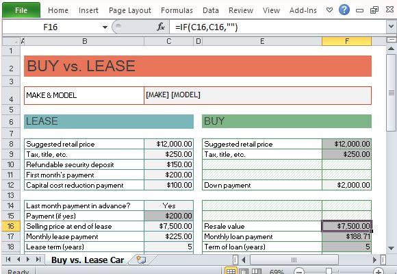 lease calculator spreadsheet