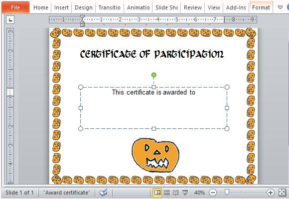 Halloween Award Certificate Template For PowerPoint - certificate of participation free template