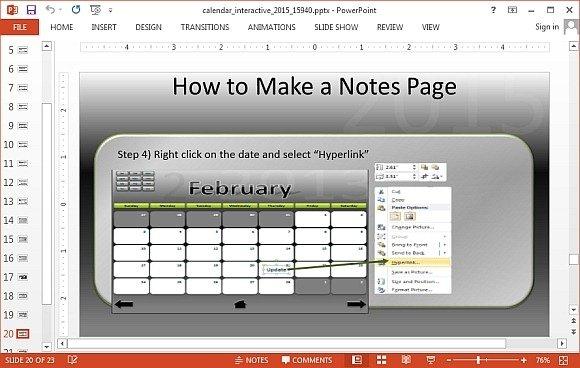 Interactive Calendar 2015 PowerPoint Template - powerpoint calendar template