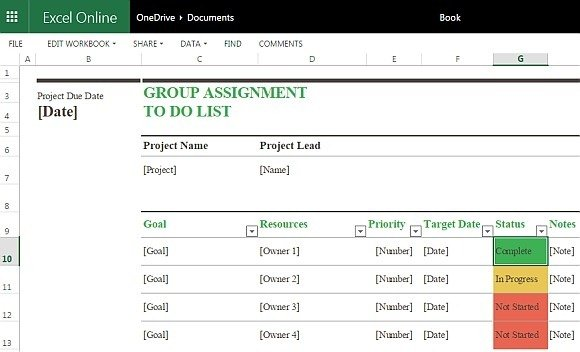 Group Assignment To Do List Template For Excel Online - project to do list templates