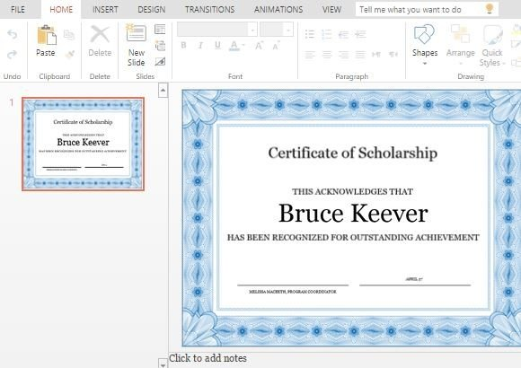 Best Certificate Templates For PowerPoint - sample scholarship certificate