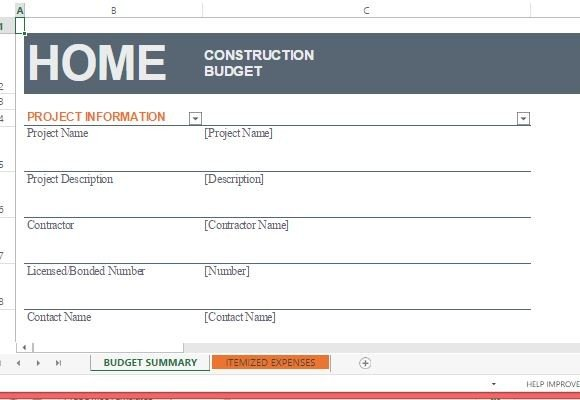 Home Construction Budget Template For Excel - home budget template
