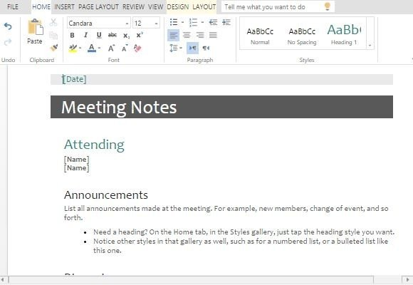Meeting Minutes Templates For Word - meeting notes template