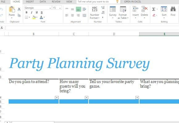 Party Planning Survey Form Template For Excel - survey form template
