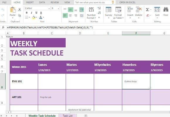 make weekly schedule excel